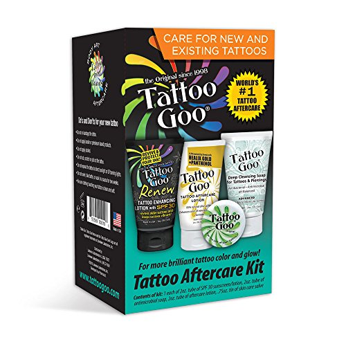 Tattoo Goo Aftercare Kit Includes Soap, New formula, Tattoo Goo, Lotion, Goo Renew