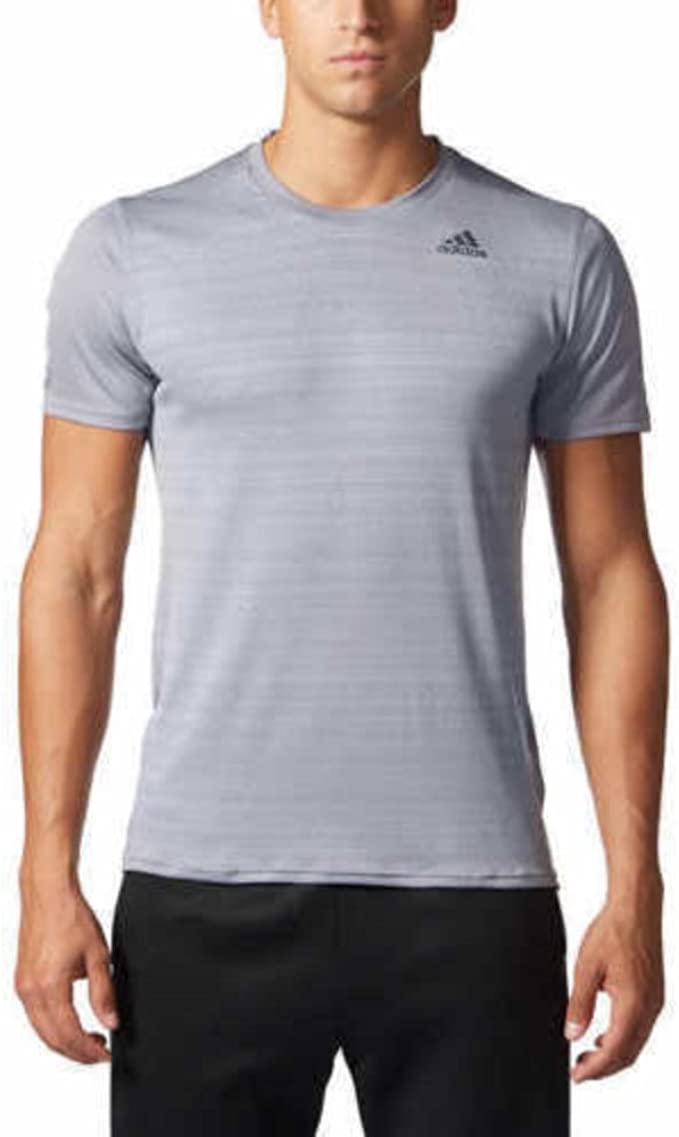 ADIDAS Men`s Short Sleeved T-Shirt Top in Grey Light Grey Blue White Climalite