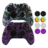 Hikfly Silicone Gel Controller Cover Skin Protector Kits for Xbox One Controller Video Games(2x Controller Camouflage cover with 8 x FPS Pro Thumb Grip Caps)(Purple,Grey)