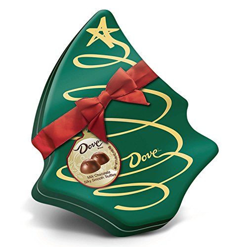 DOVE Milk Chocolate Truffles in Christmas Tree Gift Box 5.64 Ounce Tin (Dove Tin)