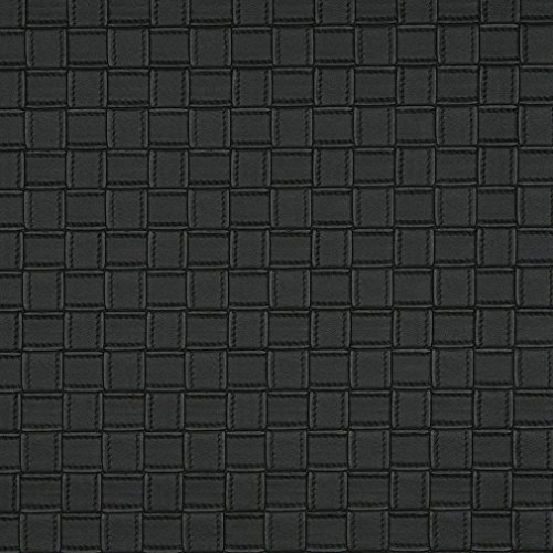 G656 Black Basket Woven Look Upholstery Faux Leather by The Yard