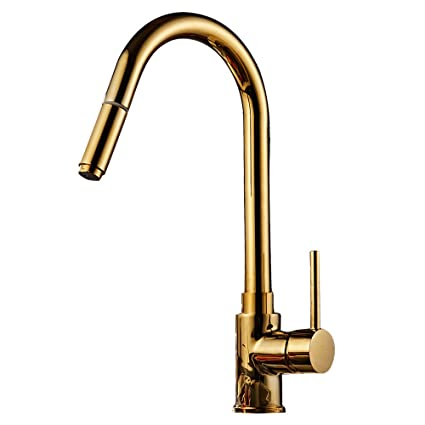 Hotbestus Modern Single Handle Pull Down Gold Kitchen Faucet With
