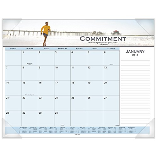 AT-A-GLANCE Monthly Desk Pad Calendar, January 2018 - December 2018, 22