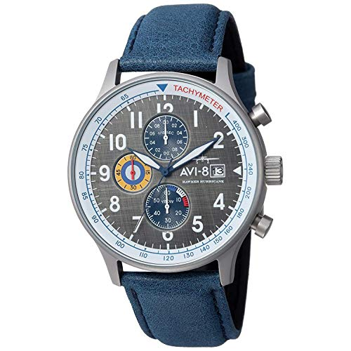 AVI-8 Men's Hawker Hurricane Stainless Steel Japanese-Quartz Aviator Watch with Leather Calfskin Strap, Blue, 22 (Model: AV-4011-0F)