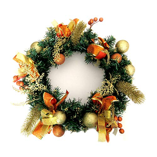 ALEKO CHDW16G Decorative Holiday Christmas Wreath Gold and Orange Accented