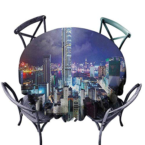 G Idle Sky City Washable Table Cloth Downtown in Hong Kong Urban View at Night High Rise Buildings Modern Business District Easy Care D67 Multicolor