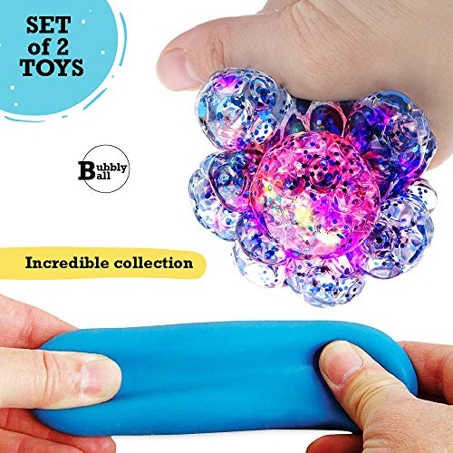 Set of 2 Led Anti-Stress + Stretch Squeeze Balls for Boys Girls Kids Toddlers Adults - Squishy Light up Relief Toy - Sensory Fidget Emoji Ball - Slime Theme Party Favors - ADHD Reliever Relax Therapy