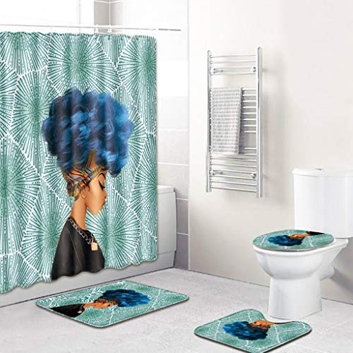 4PCS Shower Curtain Set, Jessie storee African Girl Printing Bathroom Mat Dry and Wet Separation Toilet Pad Cover Bath Mat Toilet Cover Seat Rug Water-Proof Rustproof Machine Washable, - Mosaic Eagle Dry Goods
