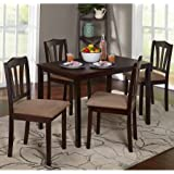 ce7759a1fa Metropolitan 588776 5-Piece Wooden Dining Set, 1 Table & 4 Chairs, Espresso