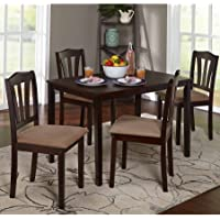 Metropolitan 588776 5-Piece Wooden Dining Set, 1 Table & 4 Chairs, Espresso Color