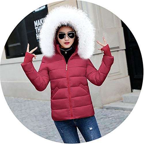 Winter Jacket White Fur Collar Hooded Zipper Outwear Women Short Coats Winter Women,Wine Red 3,XL