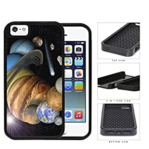 The Solar System Stars Planets And Shooting Stars 2-Piece Dual Layer High Impact Rubber Silicone Cell Phone Case Apple iPhone 5 5s by icecream design