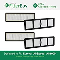 4 - FilterBuy Eureka Airspeed EF6 (EF-6) HEPA Replacement Filters, Part # 83091-1. Designed by FilterBuy to fit Eureka Airspeed AS1000 Upright Vacuums
