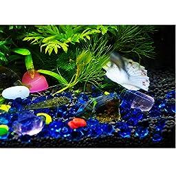 Owncons Fish Tank Decoration Aquarium Ornament Marbles Tumbled Transparent Dark Blue Glass Beads for Aquarium