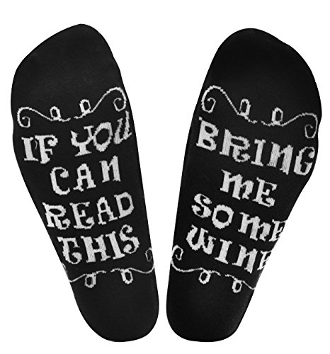 Wine Socks Mom Gifts for Women/Wife If You Can Read This Socks Bring Me Some Wine Cotton Novelty Funny Socks Joke Women Gifts for Birthday,Wine Lover,White Elephant Hostess,Father/Mothers Day