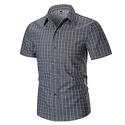 Mojessy Men's Button Down Shirt - Causal Short Sleeve Plaid Shirt