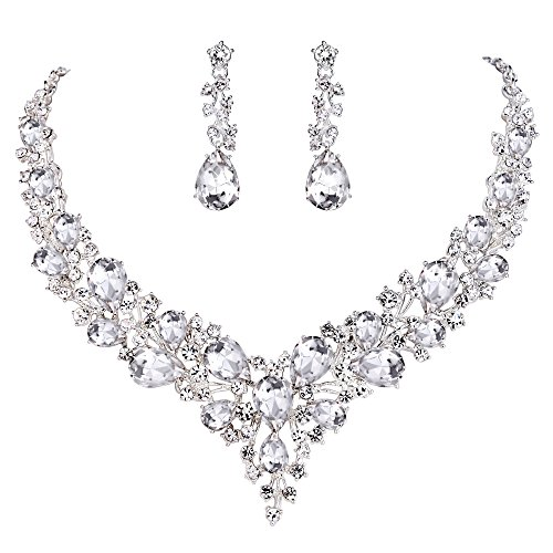 BriLove Women's Wedding Bridal Statement Necklace Dangle Earrings Jewelry Set with Austrian Crystal Teardrop Cluster Clear Silver-Tone
