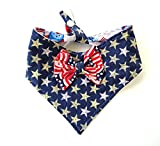 Sleek Tie and Snap 2 in 1 dog bandanna bow, Stars Stripes Patriotic Red White Blue Pet Neckwear