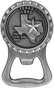Texas Lone Star State 1845 Bottle Opener Magnet with Commemorative Raised Emblem
