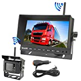 "VECLESUS Wireless Backup Camera Kit, 3 Installation Methods, No Delay, 328ft Transmission Distance, 7"" Wide Screen Monitor Night Vision Wireless Backup Camera for Trucks, RV, Trailer, Bus, Boat, Yacht"