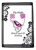 Eliana and Eli Butterfly Wings Fly High Crystals Pendant Necklaces