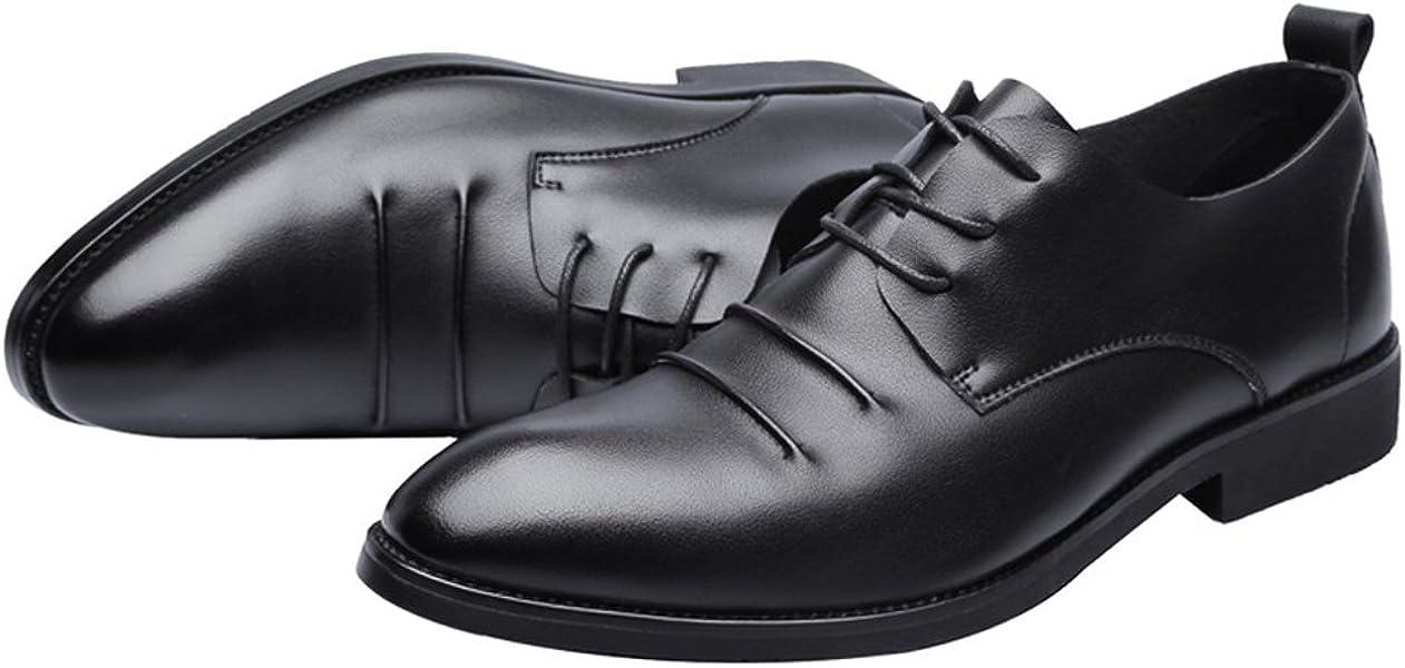 Zapatos de Moda con Cordones para Hombres Mocasines de Cuero de la PU Mate Mate Respirable Punta Estrecha Oxfords Negros FeiNianJSh