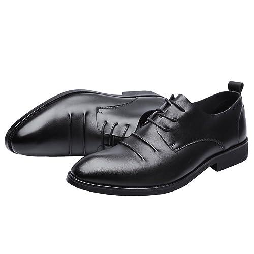 Zapatos de Moda con Cordones para Hombres Mocasines de Cuero de la PU Mate Mate Respirable Punta Estrecha Oxfords Negros FeiNianJSh: Amazon.es: Zapatos y ...