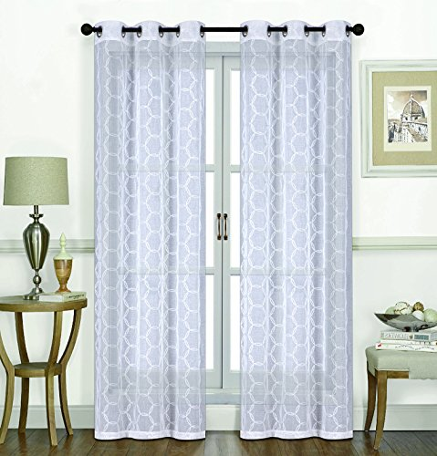 ece GEO Flocked Sheer Grommet Window Curtain Panels 38