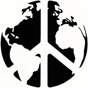 "Chase Grace Studio World Peace Earth Peace Vinyl Decal Sticker|Black|Cars Trucks Suvs Laptops Wall Art|5.5"" X 5.5""|CGS231"
