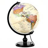 "Illuminated Antique World Globe (10""/25 cm diameter) – Premium Antique Desktop World Globe"