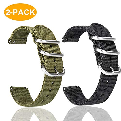 Gear S3 Frontier/Galaxy Watch 46mm Bands with Quick Release Pins, 22mm NATO Premium Woven Nylon Replacement Strap Wrist Band for Samsung Gear S3 Classic Sports Smartwatch 2 Pack (Black+Army -