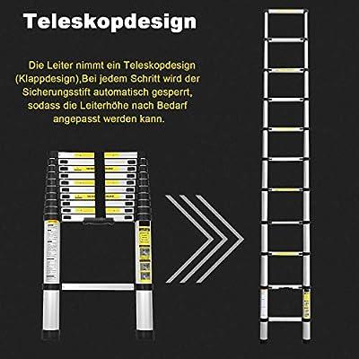 Hengda 2,6M Teleskopleiter, Alu Leiter Rutschfester, Ausziehbar Klappleiter Stehleiter, Ausziehleiter Mehrzweckleiter…