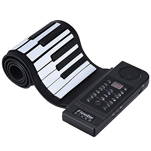 ammoon Portable Silicon 61 Keys Roll Up Piano Electronic MIDI Keyboard with Built-in Loud Speaker