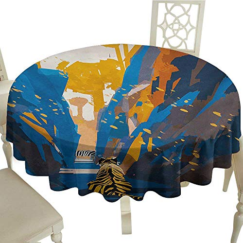Cranekey Plaid Round Tablecloth 65 Inch Fantasy,African Tiger in City Streets Narrow Walls Digital Wilderness Jungle Savannah,Orange Blue Suitable for Home Coffee Bar,Party,Wedding,& More -
