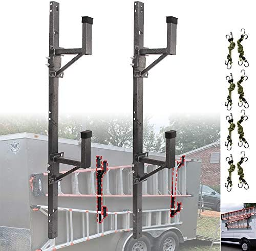 nixface enclosed trailer ladder rack mounts to the exterior side wall carry 2 or 1 ladders
