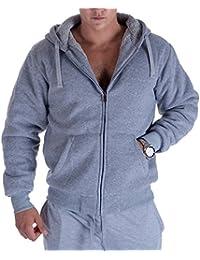 Fleece Lined Hoodies For Men 1.8 lbs Full Zip Sherpa Plus Size Sweatshirt Mens Jackets Heavyweight Outwear