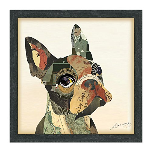 Empire Art Direct French Bulldog Dimensional Collage Handmade by Alex Zeng Framed Graphic Dog Wall Art, 17