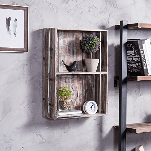 MyGift 24-Inch Rustic Torched Wood Crate Floating Display Shelf by MyGift (Image #2)