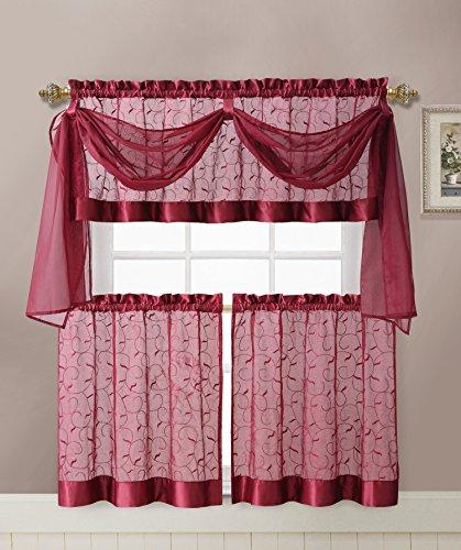 Linen Leaf 4 Piece Embroidered Kitchen Curtain Set (Burgundy)
