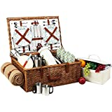 Picnic at Ascot Dorset English-Style Willow Picnic Basket with Service for 4,  Coffee Set and Blanke