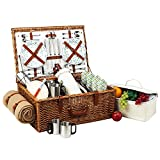 Picnic at Ascot Dorset English-Style Willow Picnic Basket with Service for 4,  Coffee Set and Blanket - Gazebo