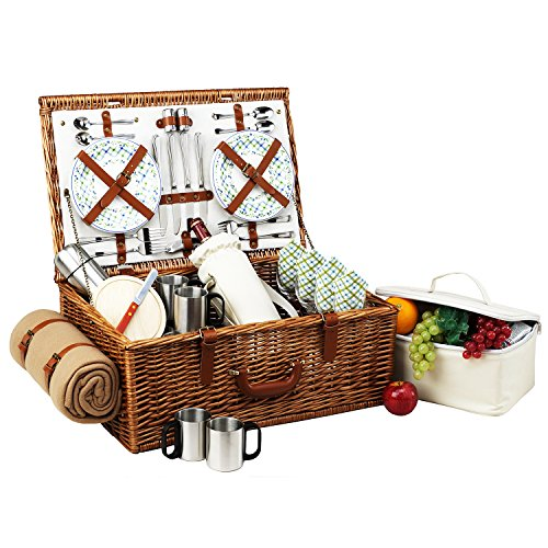 (Picnic at Ascot Dorset English-Style Willow Picnic Basket with Service for 4,  Coffee Set and Blanket- Designed, Assembled & Quality Approved in the USA)