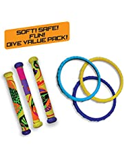 Diving Masters Power Pack Pool Diving Toy (3 - Dizzy Dive Rings / 3 - Fabric Dizzy Dive Tubes) (Colors Vary)
