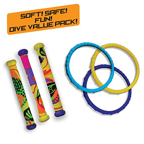 Diving Masters Power Pack Pool Diving Toy (3 - Dizzy Dive Rings / 3 - Fabric Dizzy Dive Tubes) (Colors Vary) - Pool Master Diving Rings