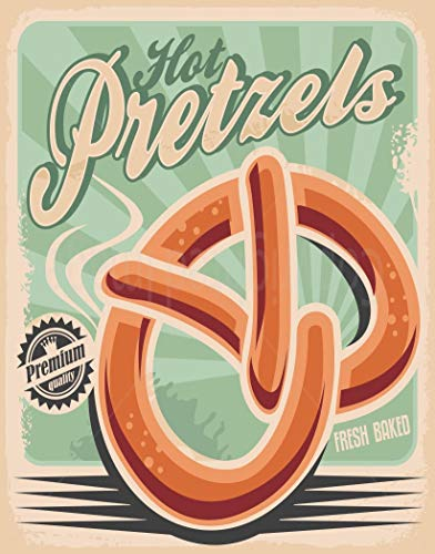 - heigudan HOT Pretzels Large Metal TIN Sign Poster Vintage Style Wall Plaque Kitchen BAR 20X30 cm