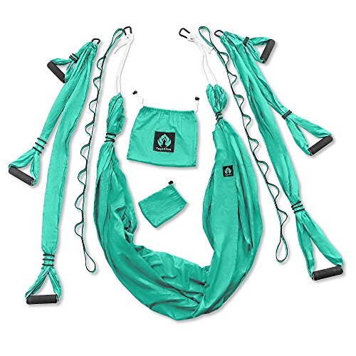 Aerial Yoga Swing Set - Yoga Hammock - Aerial Trapeze Kit + 2 Extension Straps & eBook - Large Flying Yoga Inversion Tool - Anti-Gravity Hanging Yoga Sling - Indoor Outdoor Fly Yoga - Men Women Kids by Yoga4You (Image #1)