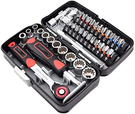 精密ドライバーセット 38PCS S2ミニラチェットレンチソケットスクリュードライバースクリュードライバーセット1/4ソケット六角トルクススロット修復ツール 修理キット (色 : Red, Size : One size)