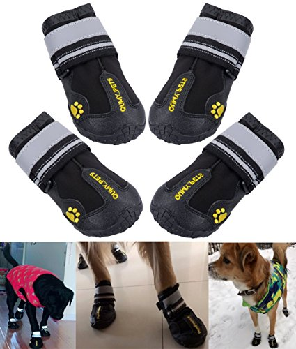 QUMY Dog Boots Waterproof Shoes for Large Dogs with Reflective Velcro Rugged Anti-Slip Sole Black 4PCS (Size 5: 2.7''x2.2'')