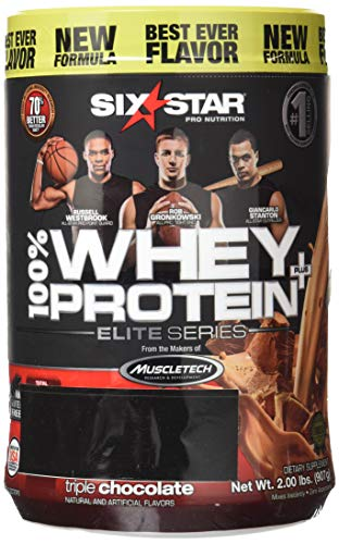 (Six Star Pro Nutrition 100% Whey Protein Plus, 64g total protein per 2 scoops Ultra-Pure Whey Protein Powder, Triple Chocolate, 2 Pound (Packaging May Vary))