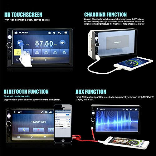 Camecho Double Din Car Stereo, Mirror Link 7'' HD Bluetooth Player Digital Monitor Touchscreen, Support USB/FM/TF/MP5 Multimedia 2 din Mobile Phone interconnection Car Backup Camera+ Remote Control by Camecho (Image #7)